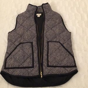 Black and white printed j crew vest